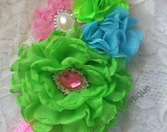 Headband/girls flower headband/flower girl headband/headband/flower girl headpiece/Hair Accessories/girls headbands/Lime Green headband