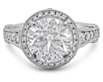 4.10ctw Round Forever Brilliant moissanite antique style diamond engagement ring 14k white gold