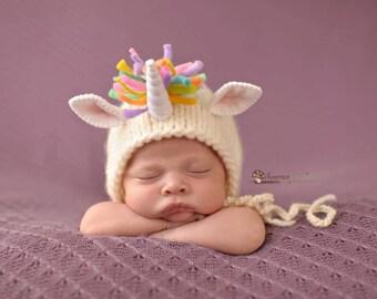 Unicorn Bonnet (pastel version or bright version) Newborn Photography Prop