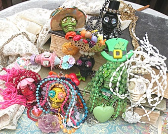 skull assemblage necklace day of dead Dia de los muertos carmen miranda fruit wacky tacky colorful recycle jewelry