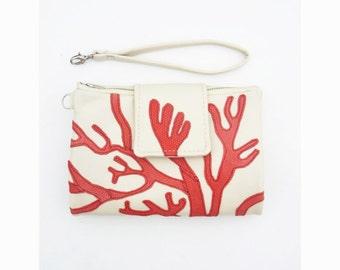 Women's leather wallet Womens wallet womens coral Wallet Handmade Wallet leather wallet purse clutch iphone 7 wallet wristlet wallet floral