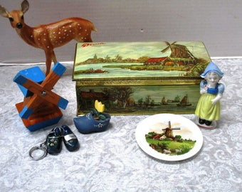 Lot of 6 Vintage Droste Dutch Windmill Tin full of Holland Collectibles Collection Girl figurine China plate Handmade Windmill Wooden shoes