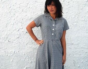 SALE Vintage 1970s Mid Century Mod Black and White Polka Dot Novelty Print Day Dress M/L