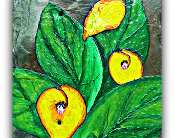 yellow calla lily decor | yellow calla lily paintings | yellow calla lily wall decor | slate decor | yellow flower decor | calla lily art