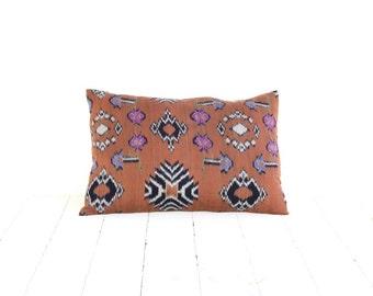 Pillow, Cushion, Ikat, Cotton, Handwoven, 12x18, Brown