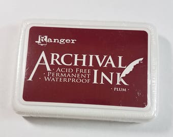 Archival Ink Pad by Ranger Ink PLUM colored Ink Pad