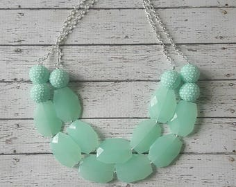 Mint Green Rhinestone Chunky Statement Bib Necklace...Purchase 3 or more get 10% off