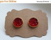 SALE Red Druzy Earrings, Drusy Earrings, Druzy Earrings, Gold Post, Red Druzy Post, Gold Red Druzy Earrings, Post Stud Earrings, 12mm Druzy
