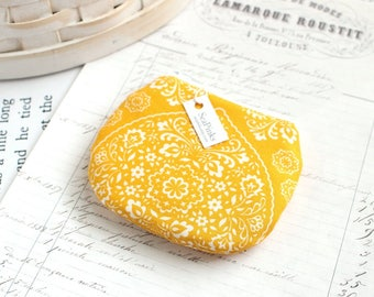 Small Yellow Floral Coin Purse Yellow Change Purse Floral Zippy Pouch