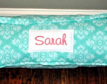 Nap Mat - Monogrammed Aqua Tonal Damask Nap Mat with a Coral Minky Dot Blanket