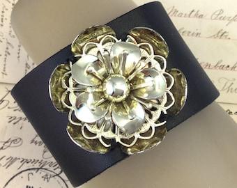 Leather Bracelets for Women, Vinage Flower Bracelet, Repurposed Jewelry, Leather Bracelet, Vintage Jewelry, Flower Bracelet, Upcycled