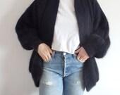 Angora Sweater Vintage Black Cardigan