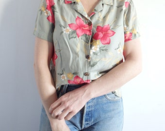 Blouse Vintage Tropical Print Short Sleeve Blouse