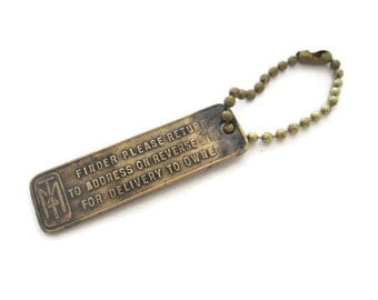 Antique Minneapolis Tribune Newspaper Keychain FOB Tag, Vintage Brass Collectible Advertising Keychain, Registered at Losers' Service Bureau