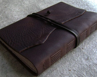 """Old world leather Journal, 6""""x 9"""", rustic dark brown journal, travel journal, leather sketchbook, (2388)"""