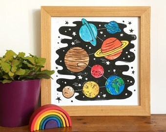 Colourful Solar System Linocut Print - Space Print, Science Print, Children's Room Print, Space theme, SciFi Print, Science Print, Space Art