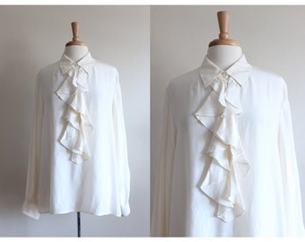 Vintage Ruffle Front Ivory Silk Top