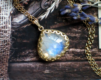 Moonstone Pendant Necklace | Rainbow Moonstone Heart Drops | Floral Bezel Set | Gold Plated | 14k Gold Filled Chain Necklace | Ready to Ship