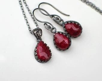 Ruby Teardrop Earrings Necklace Set | Red Ruby Pear Briolettes | Oxidized Sterling Silver | Filigree | Swirl Earrings | July Birthstone Gift