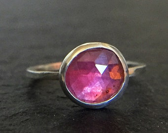 Rose Cut Pink Sapphire & Sterling Silver Ring