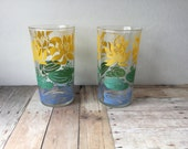 Darling Vintage Drinking Glasses with Water Lilies - Set of 2