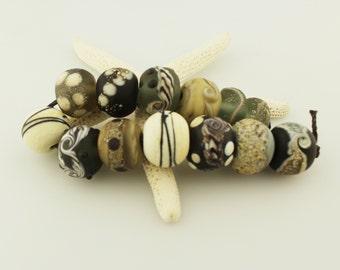 Lampwork Beads Set  Organic, Etched Matte, Gray, Brown, Ivory, Silver, Tan, Black