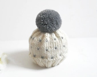 Newborn Baby Hat/Baby Beanie/Fair Isle Baby Hat/Newborn - 3 Mos./Gray and White Baby Hat/Hand Knit Baby Hat/Knit Beanie/Baby Cap