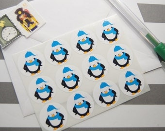 Penguin Stickers Envelope Seals One Inch Round Ses347