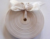 Vintage French 1930's-40's Woven Ribbon -Milliners Stock- 5/8 inch Swan Beige