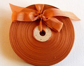 Vintage 1930's-40's French Woven Ribbon -Milliners Stock- 5/8 inch Rust