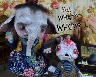 EXTRA SALE!- Bernabea Baudin & Belerofonte Bouchard - art doll, elephant doll, fish doll, creatures, ooak pure sculpt doll, art toy