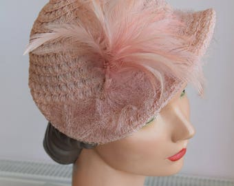 1950's Pale Pink Woven Hat With Feather Trim