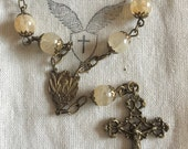 Handmade Petite Vintage Glass Bead 1 Decade Rosary with Bronze Center and Crucifix