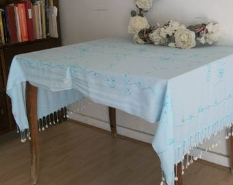 Ethnic Indonesian Vintage Blue Rayon Embroidered Fringed Dangley Shells Tablecloth or Shawl
