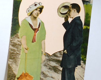 1915 Postmark Postcard Collectible / Are You Lonely He Asks With a Tip Of His Hat/Oh Where Has Romance Gone ?