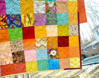 Patchwork quilt--lap size--Warm Earthtone --54 X 81