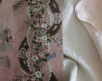 18th c Rococo Brocade Panel ~ Feathers, Floral, Metallic Old Rose Paris Silk~#1