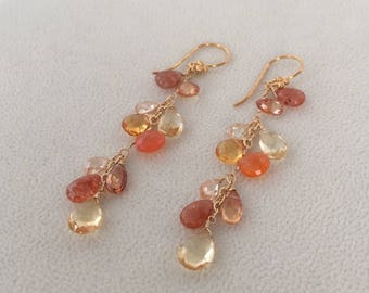 Semiprecious Gemstone Earrings in Gold Vermeil with Yellow and Golden Citrine, Sunstone, Orange Carnelian, Mystic Topaz, Zircon