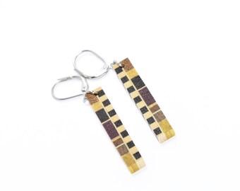 earrings / wood earrings / exotic wood / stainless steel / isabelle ferland