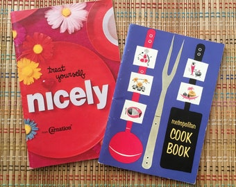 Pair of Vibrant Vintage Cookbook Booklets:  Treat Yourself Nicely!