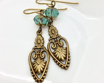 Antique Filigree earrings, vintaj brass, detailed brass filigree, Art Nouveau oxidized earrings