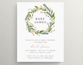spring wreath baby shower invitation // baby announcement // modern invite // meet baby // new baby // floral // note card // flowers