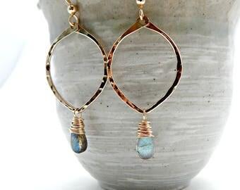 awakening. labradorite and 14k gold fill hoops. flashy labradorite. yoga gift. chakra jewelry. protective gemstone jewelry. meditative tool.