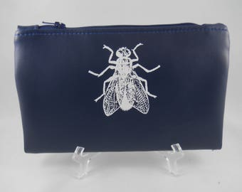 Navy Wallet with Fly| Small Clutch| Bifold Wallet| Faux Leather Wallet| Insect Print| Zipper Wallet| Vegan Leather Wallet| Silk Screen Print