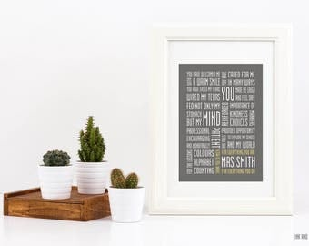 Preschool Daycare Customizable Teacher Appreciation Typography Print Teacher Gift 5x7 Educator ECE Word Art Subway Art