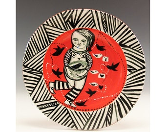 Tapas Plate - Original one of a kind painting by Jenny Mendes on a round ceramic dessert plate - Bird in Hand