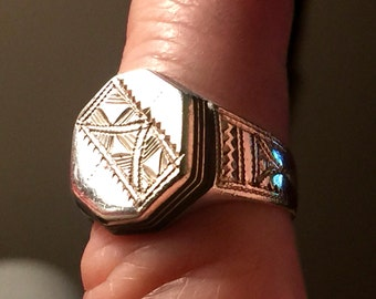 Unusual Native American Symbols, Size 9 Sterling Silver Octagonal Ring