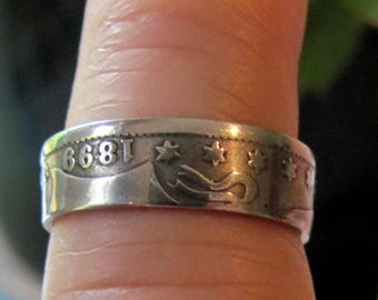Vintage Antique Size 8 Sterling Silver Coin Ring with 1899  Date, Silver Coin Ring