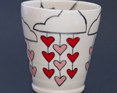 Ceramic / Tumbler / Rain / Clouds / Hearts / White / Red / Pink
