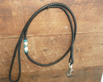 Braided Kangaroo Leather Dog Show Lead  - Black 6 strand - 34""